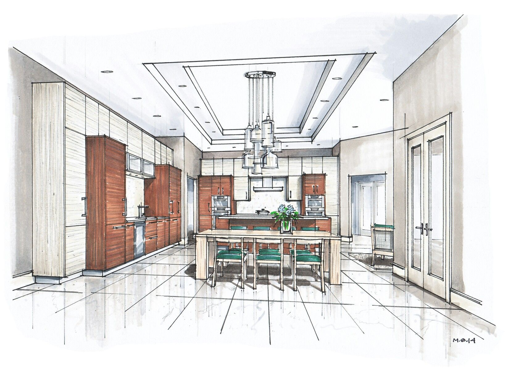 Interior Design Color Sketches perspectiva de interiores con tecnica de color - cocina