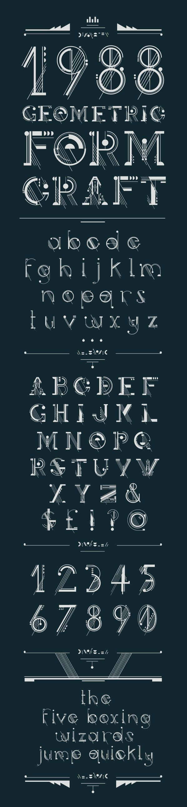 Design by studiosap on Behance | #alphabet Artificer Typeface  I love the parallel lines within the font.