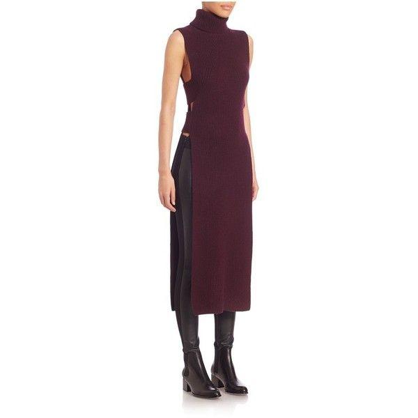 MCQ Alexander McQueen Knitted Sleeveless Dress ($270) ❤ liked on Polyvore featuring dresses, burgundy, knitwear, tops, purple sleeveless dress, cutout dresses, cut out dresses, purple dress and mcq by alexander mcqueen