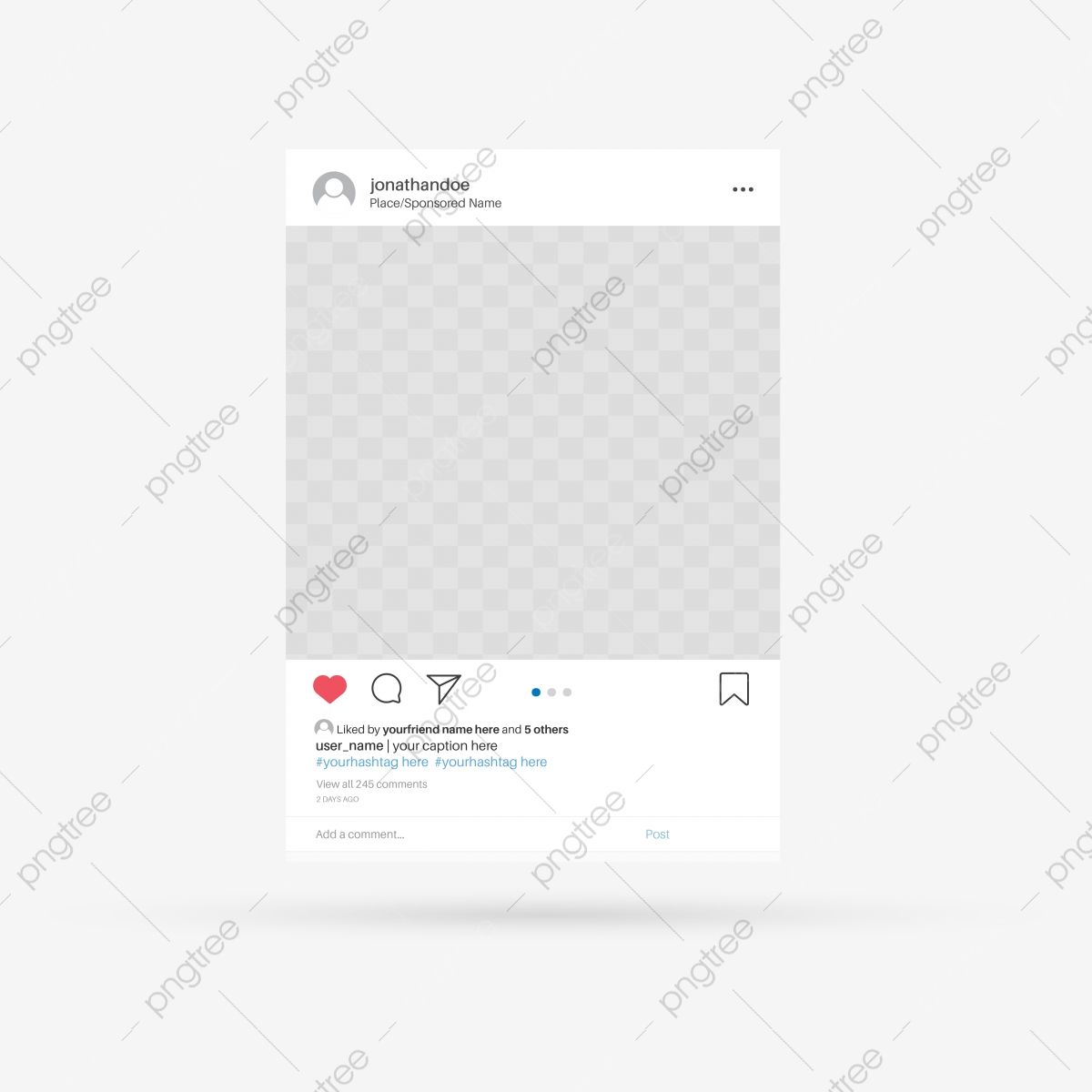 Social Media Photo Frame Template Photo Post Interface Png And Vector With Transparent Background For Free Download Frame Template Instagram Emoji Get Real Instagram Followers