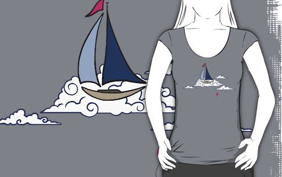 Cute new scoop neck tanks from RedBubble!  Sailboat, balloons, clouds, dreaming, nursery, oceans, sky.