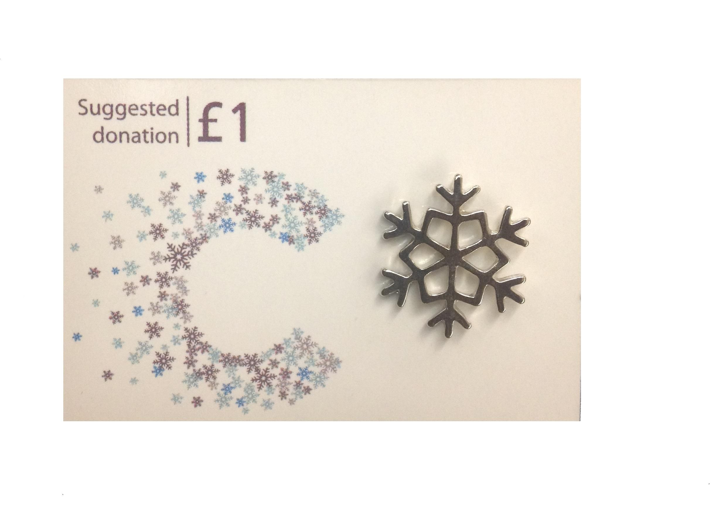 Snowflake Pin Badge (Charity gift shop from Cancer Research UK ...