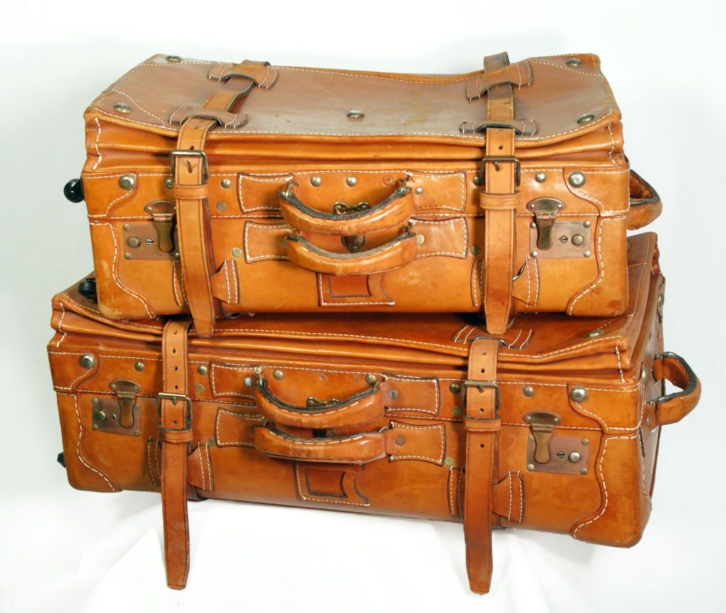 Vintage Leather Luggage Set | Leather luggage, Vintage leather and ...