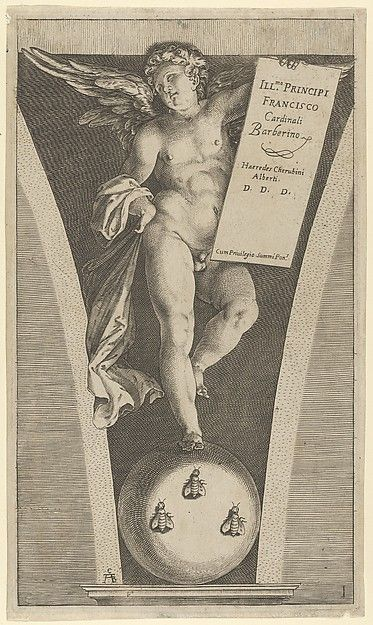 Winged genius holding a tableau, standing on a sphere with three bees