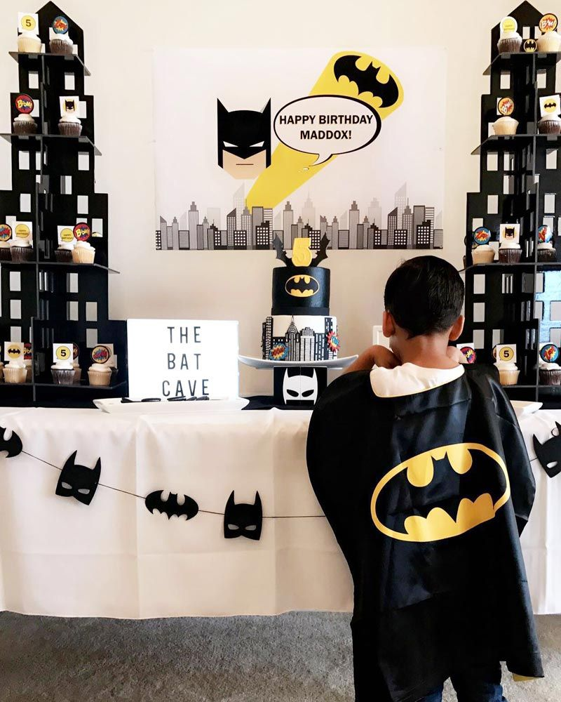 Backdrop superhero party printables batman background backdrop - Batman Birthday Party In Yellow And Black Modern Batman Birthday Party Backdrop Banner For