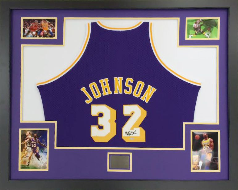 Framed NBA LA Lakers Jersey Magic Johnson. Custom design by Art and ...