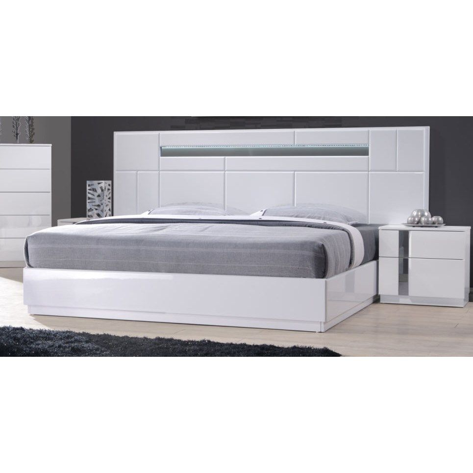 J&M Furniture 17853-Q Palermo Queen Bed in White Lacquer and Chrome