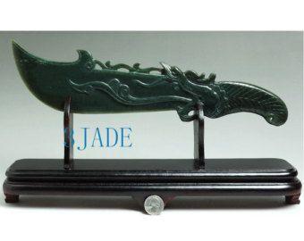 Chinese Broadsword Sword Natural Hetian Nephrite Jade Carving
