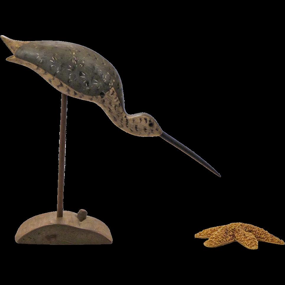 Vintage Folk Art Wooden Shorebird Sculpture