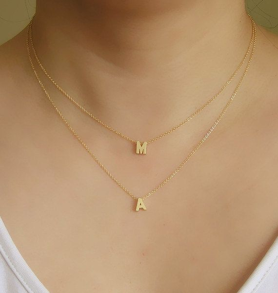 Initial Jewellery Double Strands Necklace Letter Necklace Two Initials Necklace Initial Necklace 2 Strands Necklace Double Layered Necklace Initial Necklace Gold Gold Letter Necklace Initial Necklace