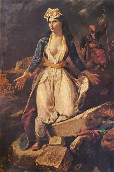 Greece expiring on the Ruins of Missolonghi - Delacroix Eugene