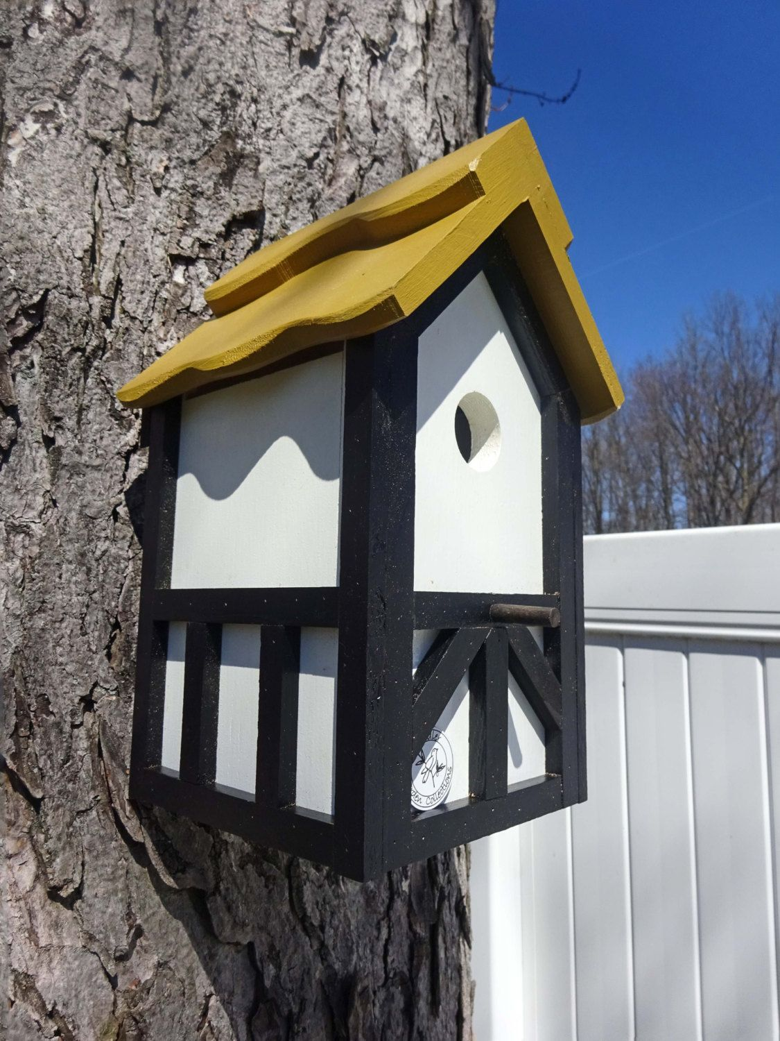 Tudor Birdhouse Wood Nesting Box Old English Bird House Birdhouse With Cleanout Handmade Tree Mount Post Mount Gold Ro Bird Houses Bird House Brown Roofs