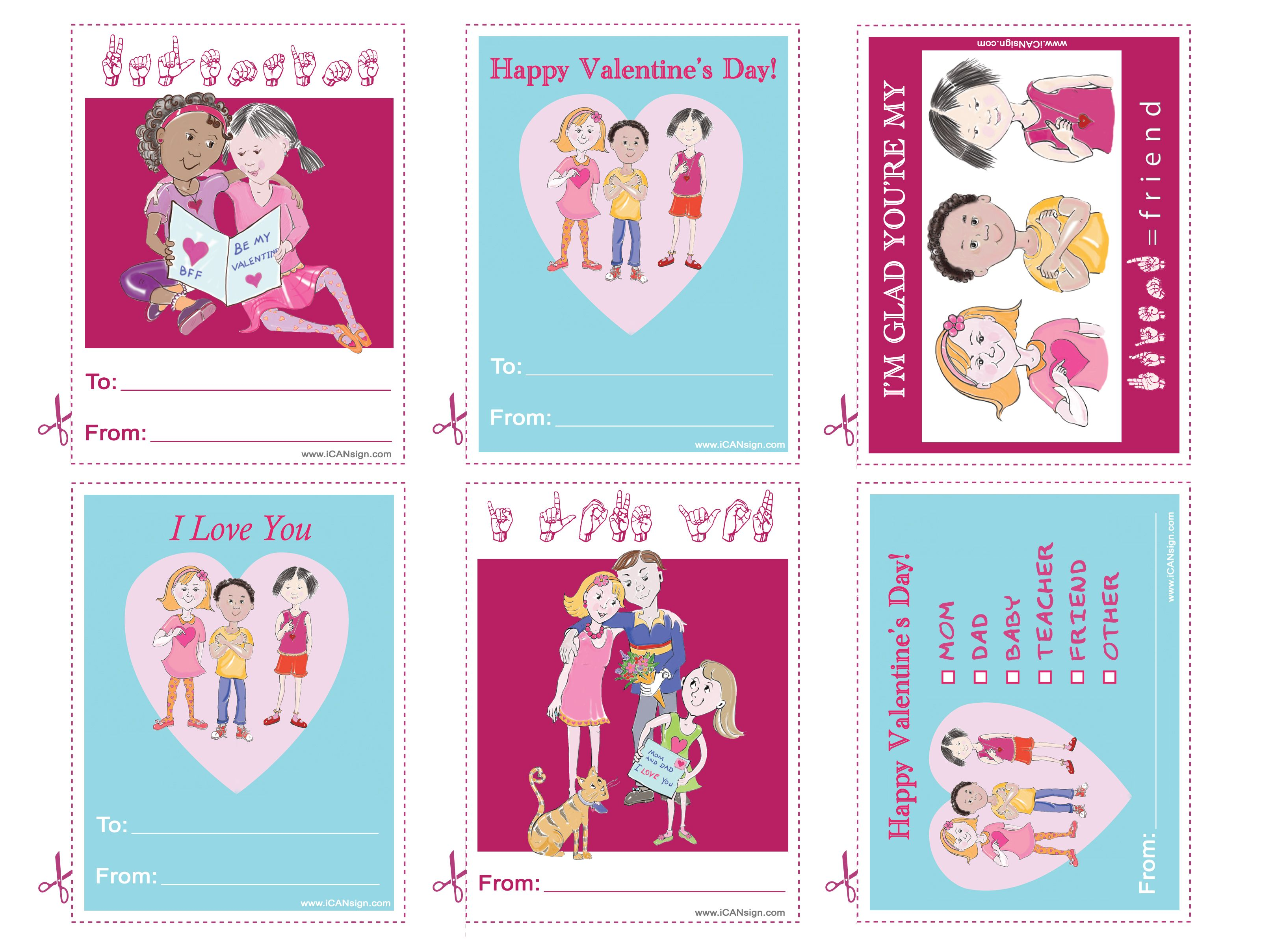 Printable Valentine S Day Cards That Say I Love You In American Sign Language Asl Activi Free Printable Cards Printable Cards Printable Valentines Day Cards