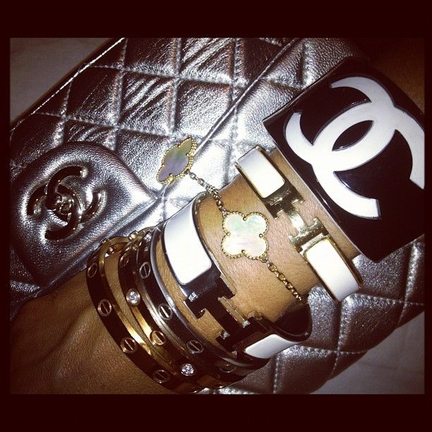 Today's Arm Candy: Van Cleef and Arpels Bracelet, Hermes H Bracelet, Chanel Cuff, Cartier Love Bracelet