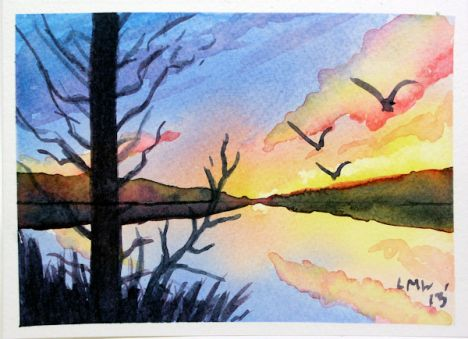 Paint A Lovely Sunrise Or Sunset Watercolor Art Landscape