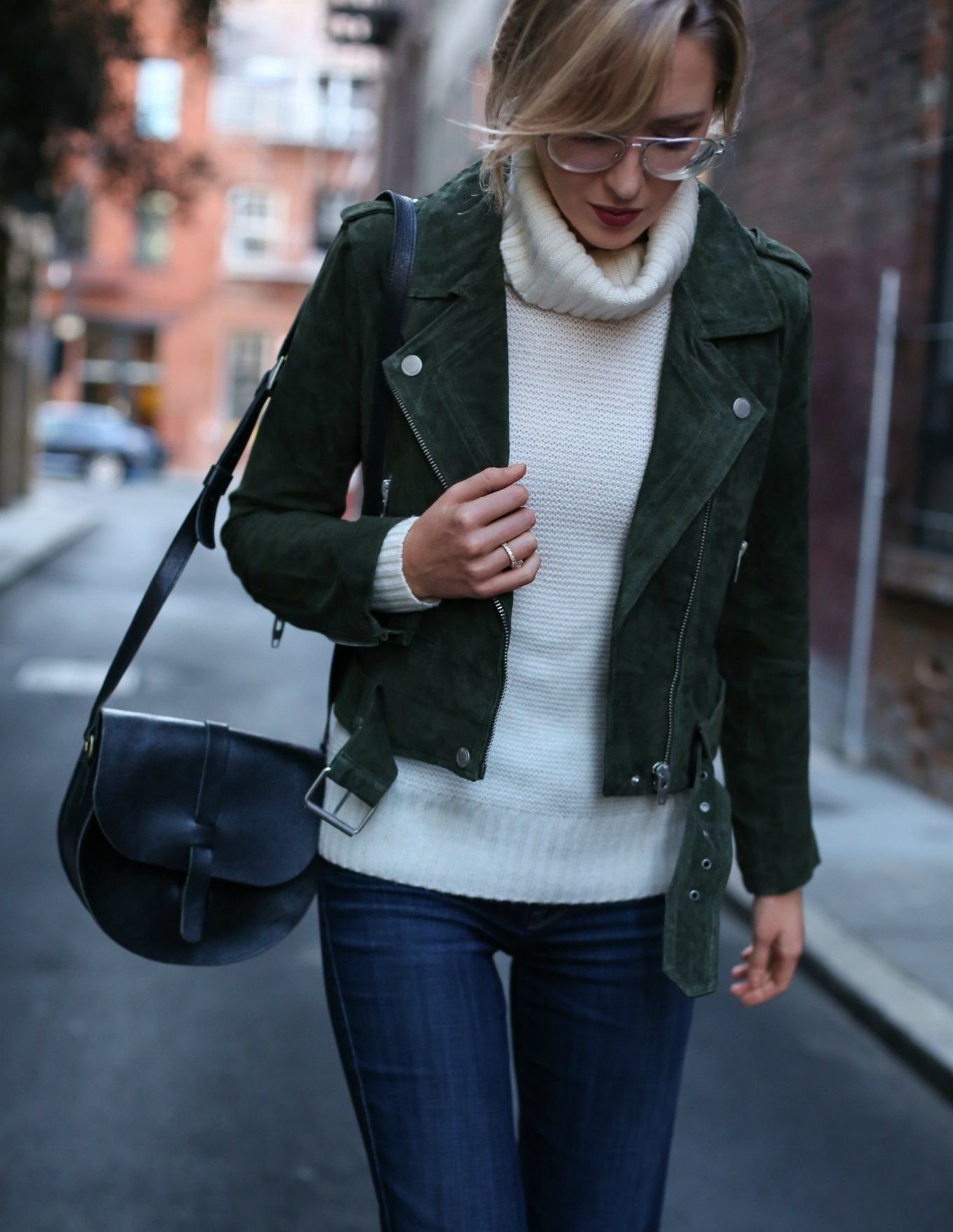 blank-nyc-suede-moto-jacket-green-flare-leg-jeans-ivory-cowl-neck-chunky-knit-sweater-silver-aviator-glasses6