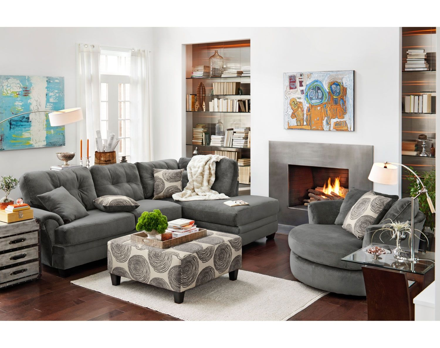 Sensational The Cordelle Sectional Collection Gray American Machost Co Dining Chair Design Ideas Machostcouk