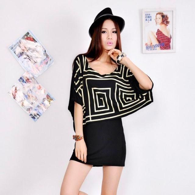 2013 womens the trend of mercerized cotton geometry batwing sleeve faux two piece set medium-long t-shirt
