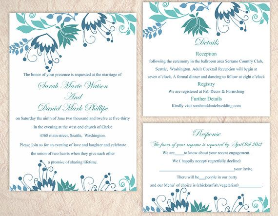 DIY Wedding Invitation Template Set Editable Word File Instant - invitation download template