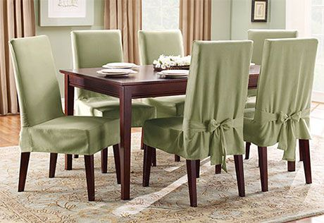 Cotton Duck Short Dining Chair Slipcover Decorating