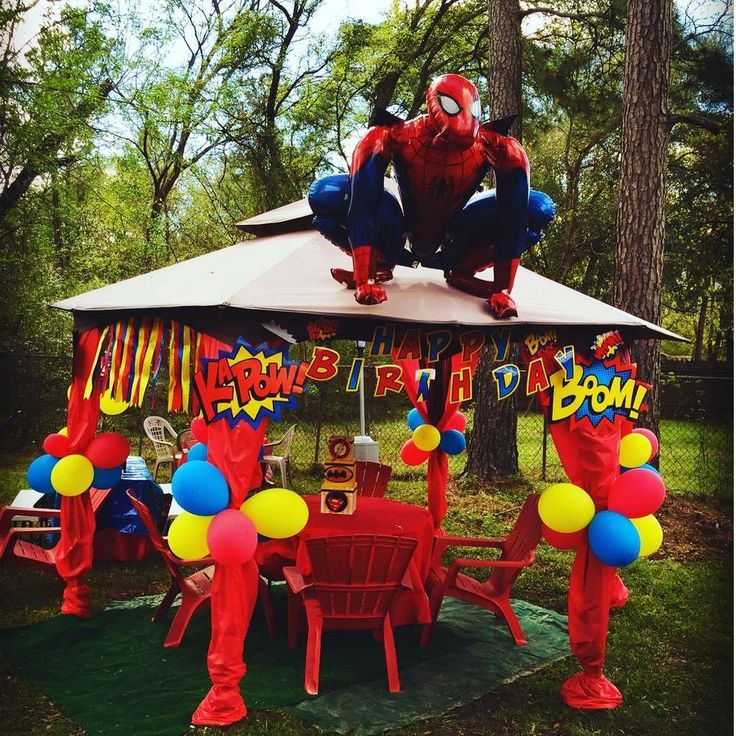 Spiderman Party Decorations Homemade Jpg 736 736 Pixels Spiderman Birthday Party Superhero Birthday Party Mens Birthday Party