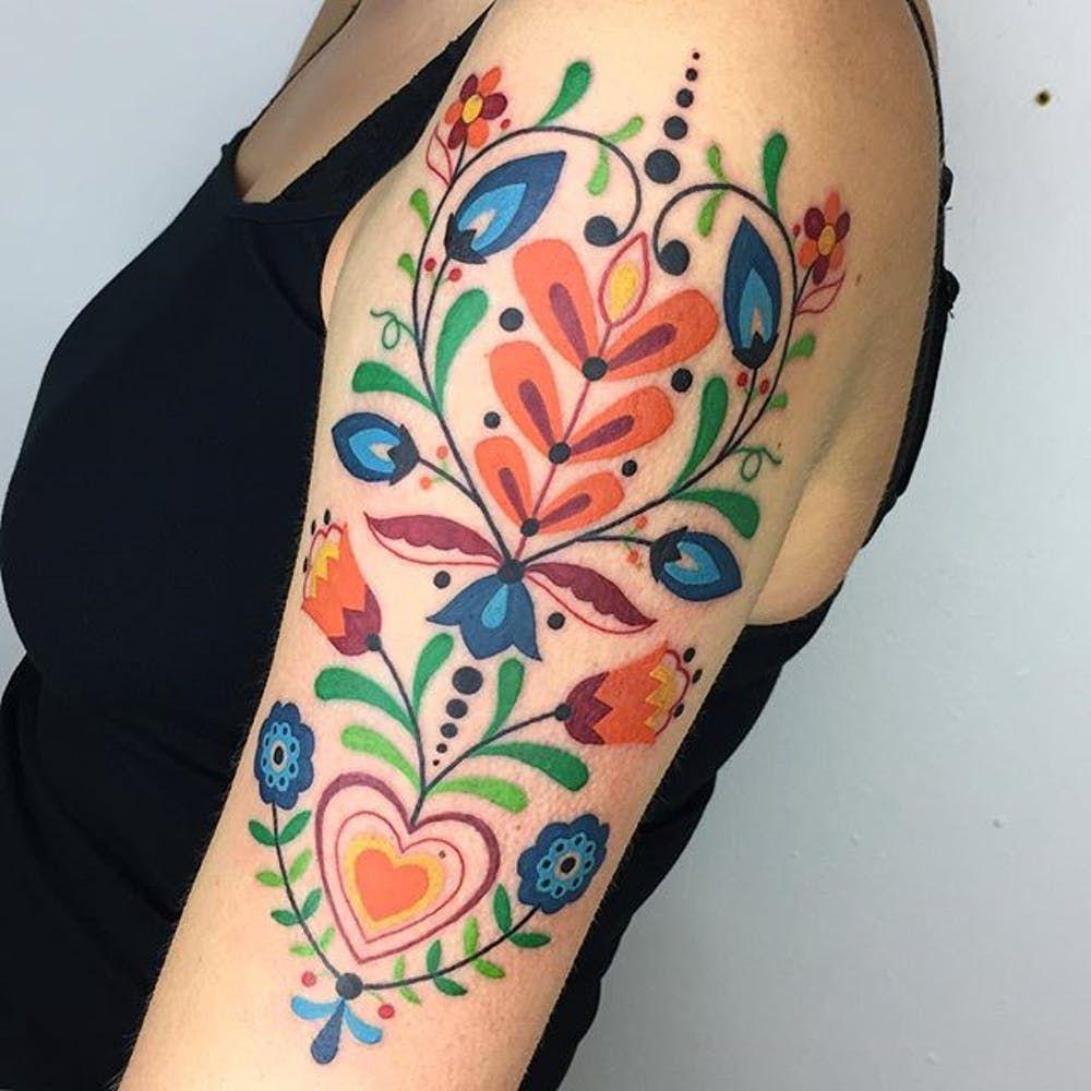 Small Hungarian Folk Art Tattoo