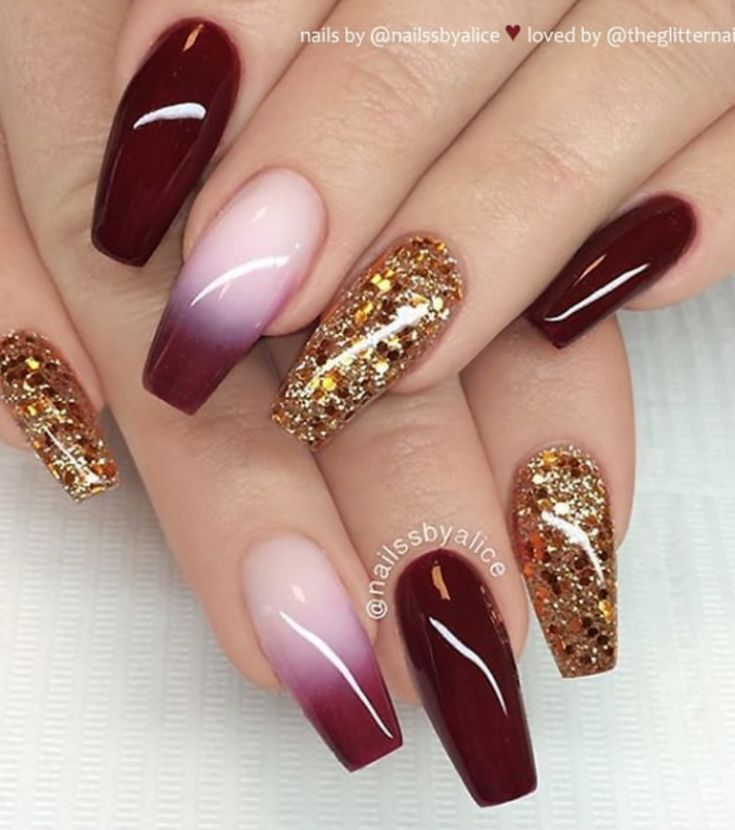 46 Elegant Acrylic Ombre Burgundy Coffin Nails Design For Short And Long Nails Page 40 Of 46 Burgundy Nails Nail Designs Coffin Nails Designs
