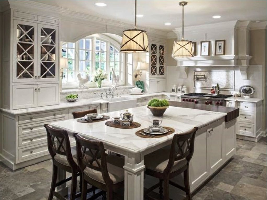 Exceptionnel Long Kitchen Island With Seating | Wide Kitchen Islands With Seating And  Marble Top Placed Near Long .