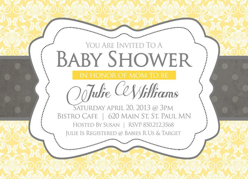 Baby Shower Invitation - Nuetral Gray and Yellow Damask Baby Shower ...