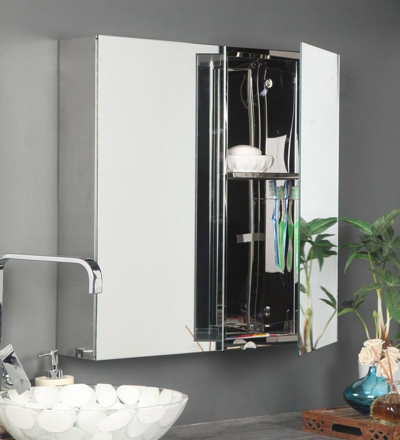 Stainless Steel Silver 3 Compartment Two Door Bathroom Mirror