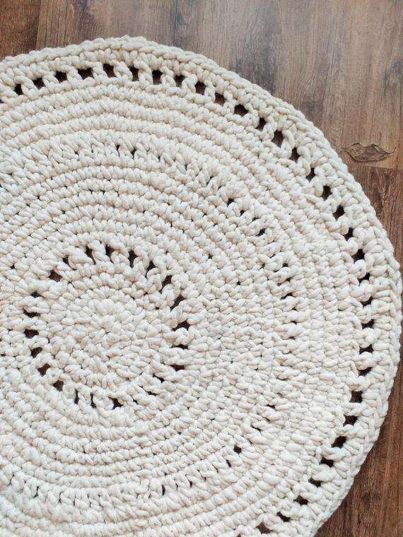Crochet Round Rug Wool Reversible