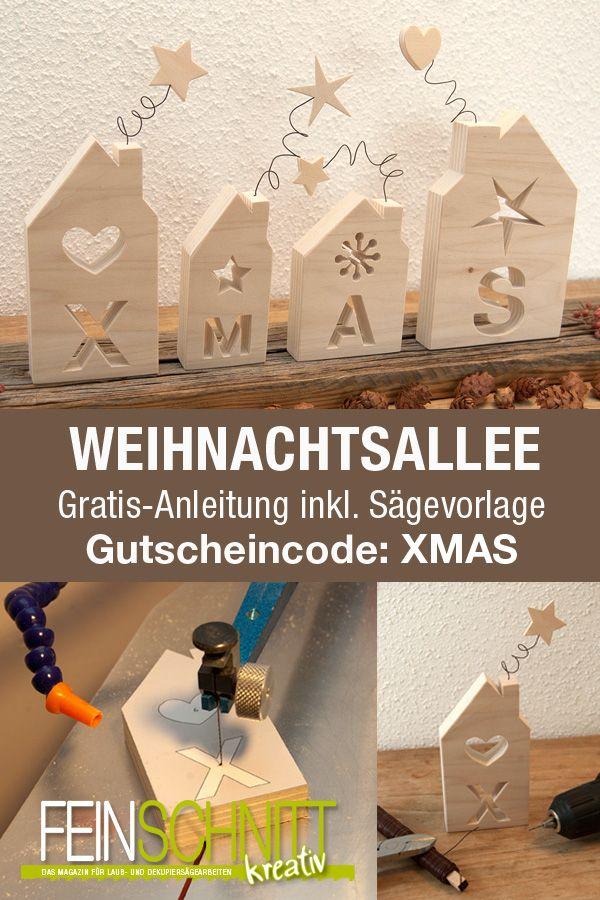 Weihnachtliche Vorlage inkl. Anleitung für die Laubsäge. #holzideenweihnachten