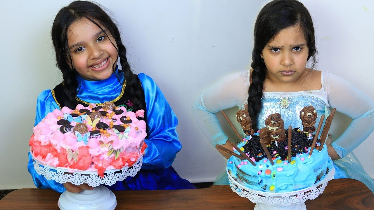 السا ضد انا تحدي تزيين الكيك Elsa Vs Anna Cake Decorating Challenge Cake السا ض Baking Cakes Ideas Cake Anna Cake