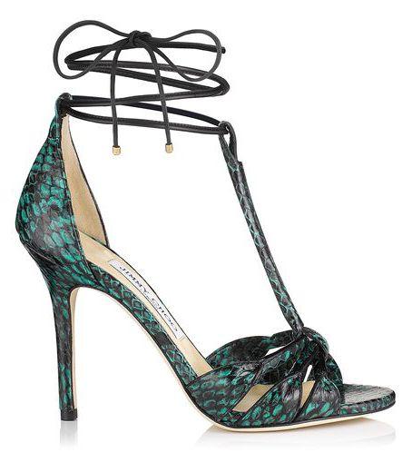 Jimmy Choo Motive Emerald Printed Nappa Women Strappy Sandals Elaphe