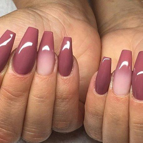 Coffin Shape With Dark Pink Gel Polish And Ombre French Tip Regrann From Naglarbydiana