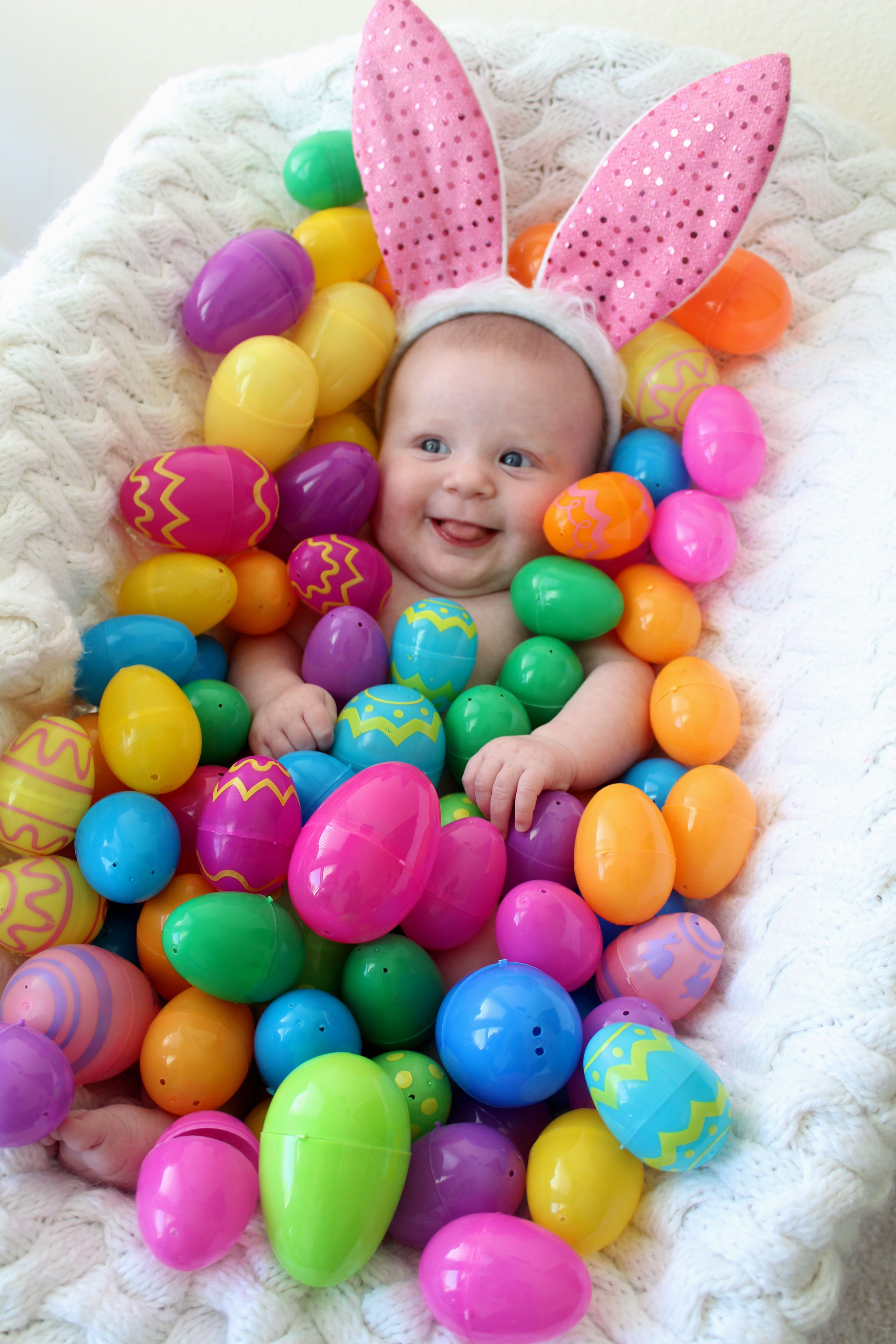 Baby's first easter pic Find this Pin and more on Easter by Anna Kononova. Kinda wanna do this for an Easter basket. Then each child will have a big basket to store stuff in lol.