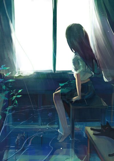 Sonicspinexe 雨 芸術的アニメ少女 悲しいアニメガール イラスト