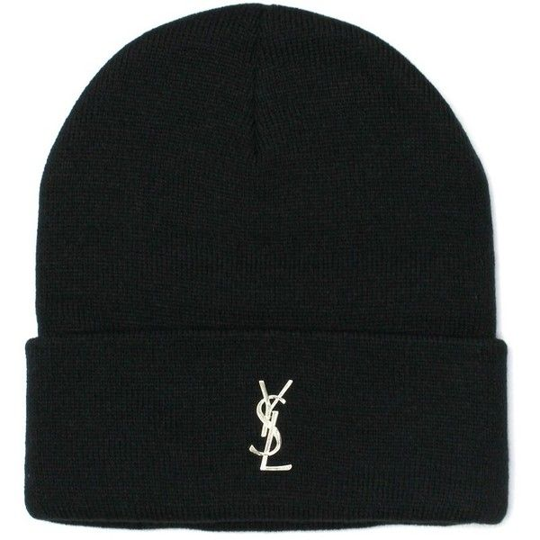 fe083223 Black YSL Pin Beanie (295 RON) ❤ liked on Polyvore featuring ...