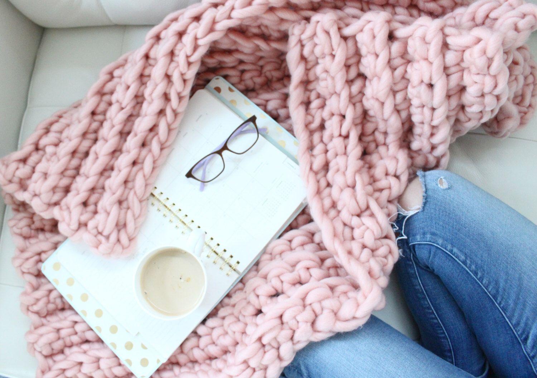 Modern Chunky Oversize Huge Knit Baby Blanket Crochet in