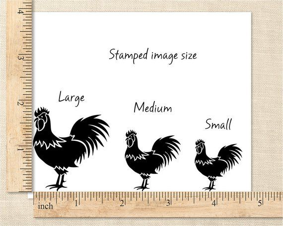 Rooster Stamp Rubber Chicken Country Kitchen Urban Farm Farmer