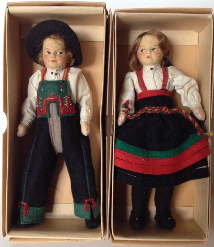 "Vintage Pair Norway Norwegian Ronnaug Petterssen Cloth Felt 7"" Ethnic Dolls MIB #Dolls"