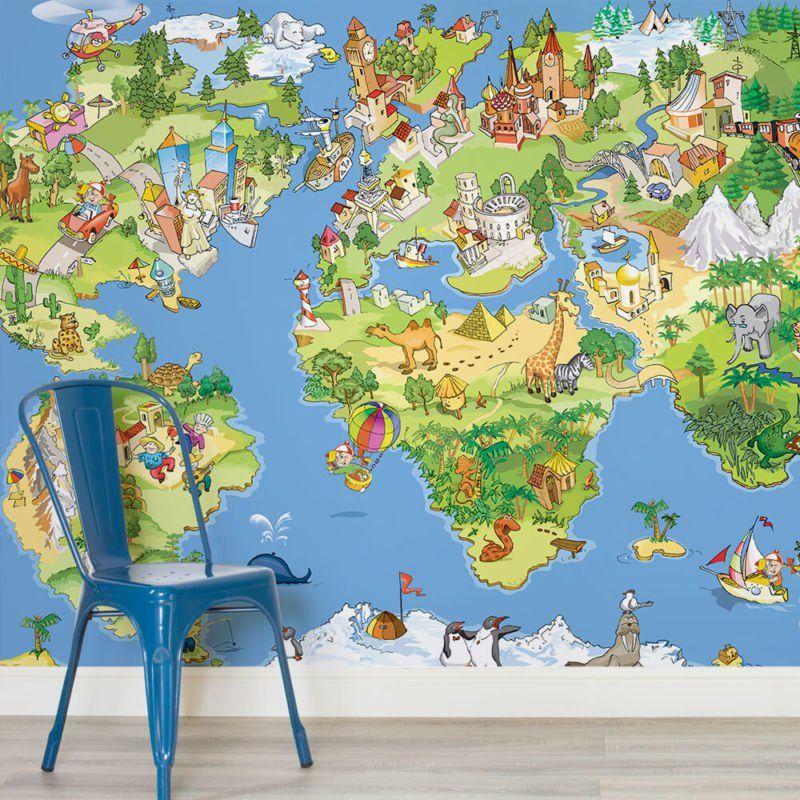 Explorer kids world map mural muralswallpaper wall murals explorer kids world map mural muralswallpaper gumiabroncs Images