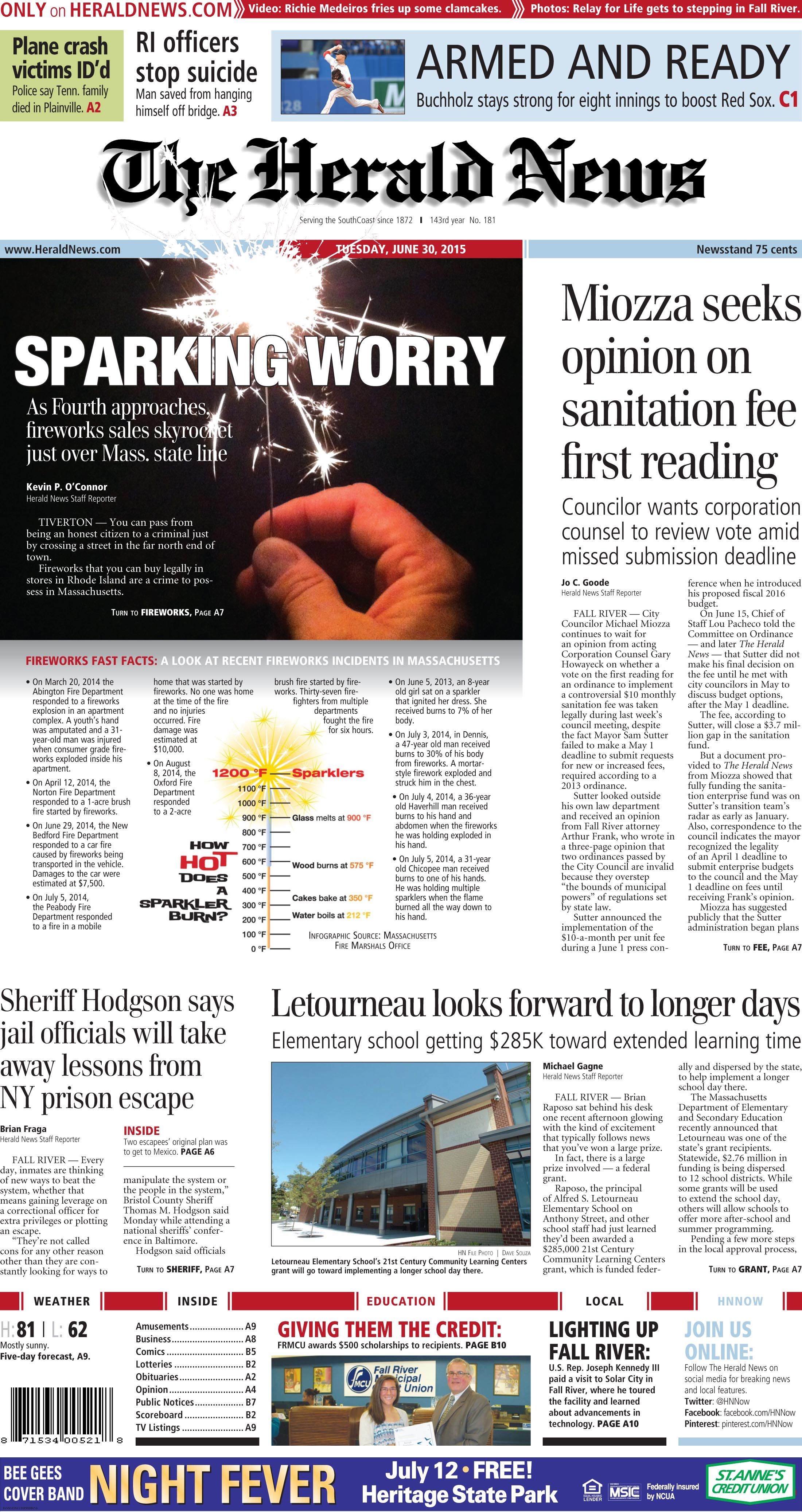 The Front Page Of The Herald News For Tuesday June 30 2015 Fallriver Fireworks Herald News Herald Fall River