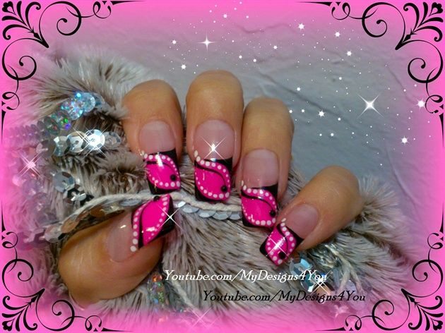 Abstract, hot pink french. - Nail Art Gallery