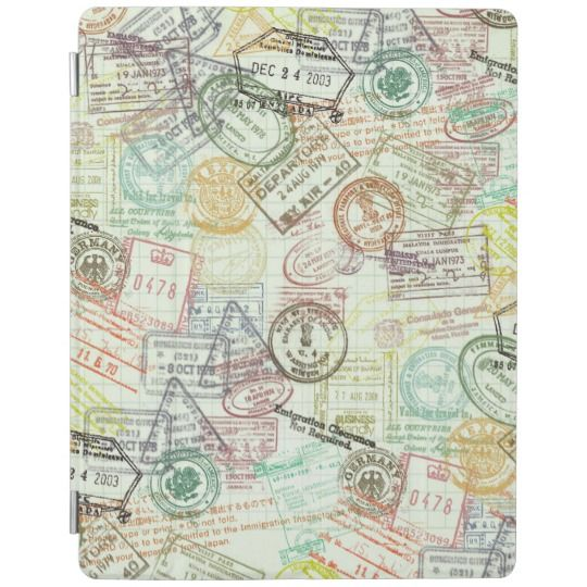 Passport Stamps Travel Pattern IPad Smart Cover