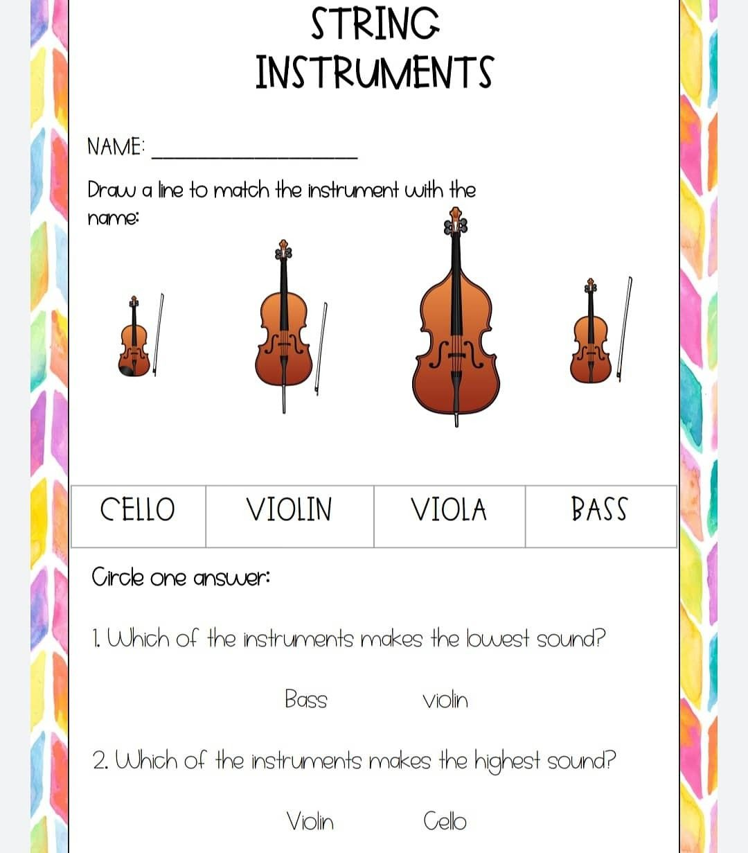 Music At Home Worksheets For E Learning In