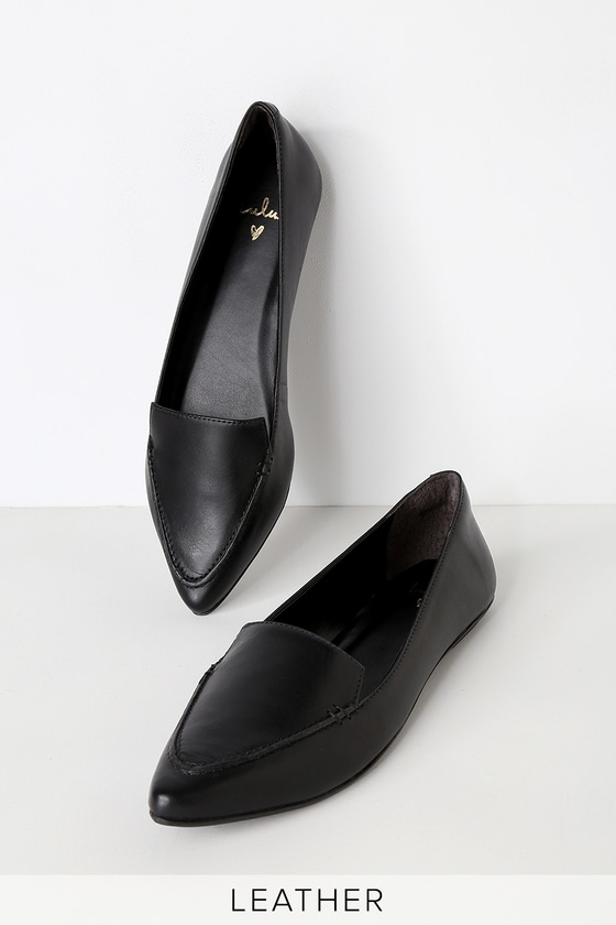 Emmy Leather Black Pointed Toe Loafers