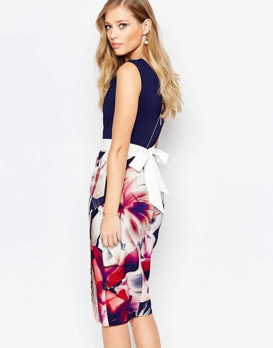 Image 1 ofCloset 2 in 1 Pencil Dress with Navy Floral
