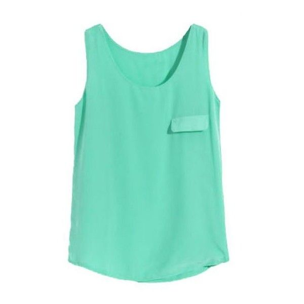 89337986668 Green Sleeveless Pocket Chiffon Vest ( 24) ❤ liked on Polyvore featuring  tops