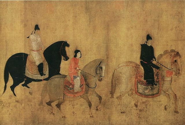 Chinese antique scroll painting Tang dynasty Riding horses on travelling journey